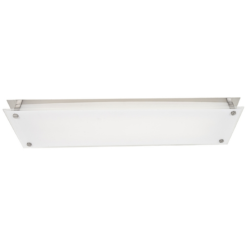 Access Lighting Modern Flushmount Light with White Glass in Brushed Steel Finish 31029-BS/FST