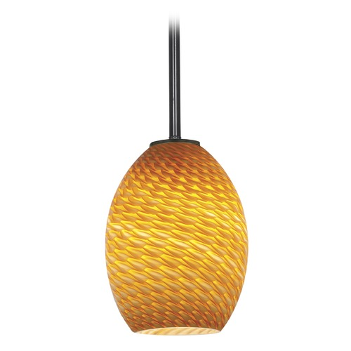 Access Lighting Modern Mini-Pendant Light with Amber Glass 28023-1R-ORB/AMBFB