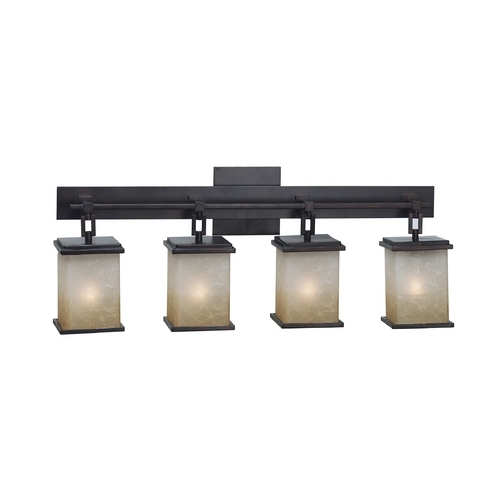 Kenroy Home Lighting Modern Bathroom Light with Amber Glass in Oil Rubbed Bronze Finish 03375