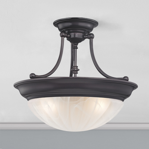 Design Classics Lighting 16-Inch Bronze Three-Light Semi-Flush Light 565-30