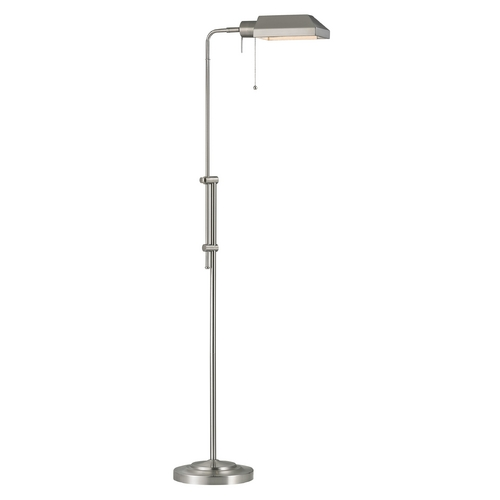 Design Classics Lighting Adjustable Pharmacy Floor Lamp in Satin Nickel Finish 2292-09