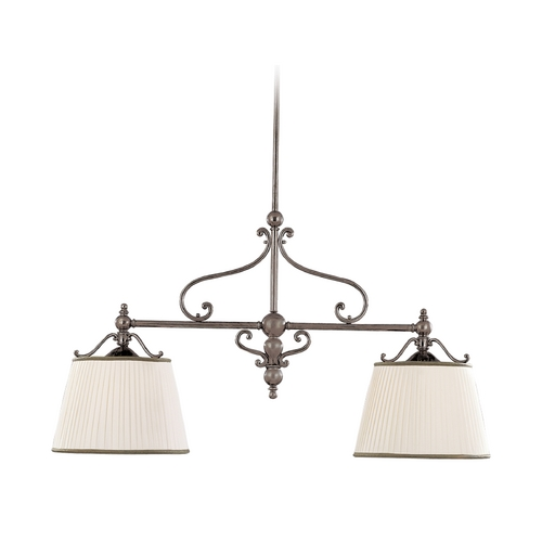 Hudson Valley Lighting Drum Island Light with White Shades in Historic Nickel Finish 7712-HN