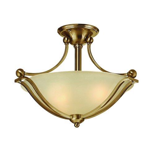 Hinkley Lighting Semi-Flushmount Light with Amber Glass in Brushed Bronze Finish 4651BR