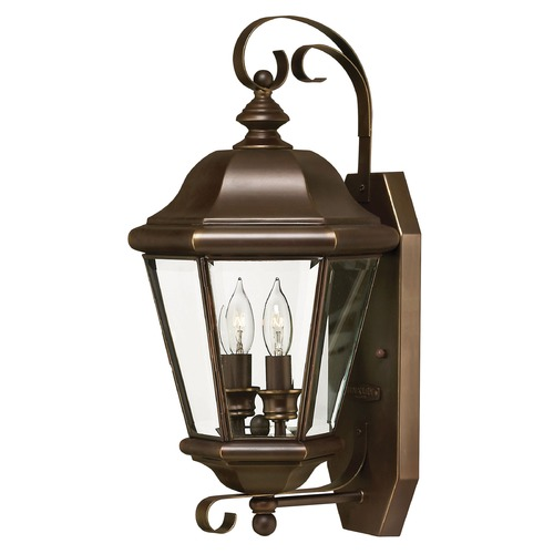 Hinkley Outdoor Wall Light with Clear Glass in Copper Bronze Finish 2425CB