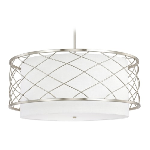 Capital Lighting Capital Lighting Sawyer Brushed Nickel Pendant Light with Drum Shade 4835BN-616