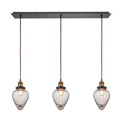 Elk Lighting Elk Lighting Bartram Oil Rubbed Bronze, Antique Brass Multi-Light Pendant with Bowl / Dome Shade 16325/3LP