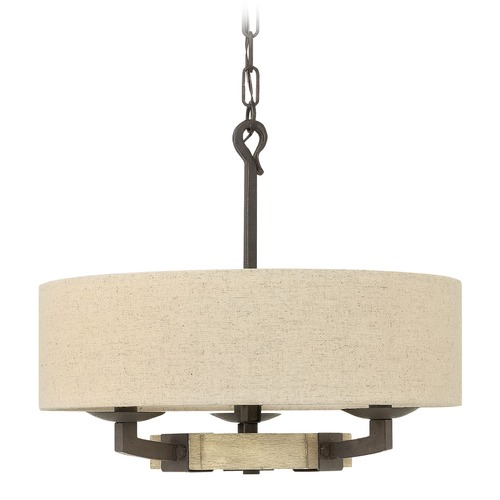 Hinkley Lighting Hinkley Lighting Wyatt Iron Rust Pendant Light with Drum Shade 3913IR