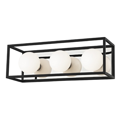 Mitzi by Hudson Valley Mid-Century Modern LED Vertical Bathroom Light Polished Nickel / Black Mitzi Aira by Hudson Valley H141303-PN/BK