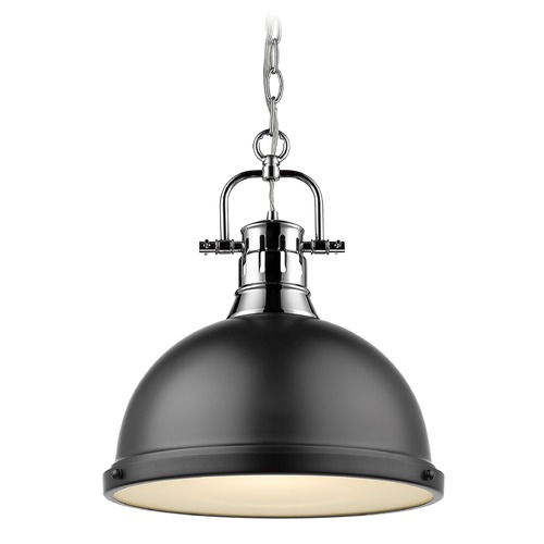 Golden Lighting Golden Lighting Duncan Chrome Pendant Light with Matte Black Shade 3602-LCH-BLK
