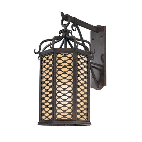 Troy Lighting Outdoor Wall Light with Clear Glass in Old Iron Finish BF2374OI