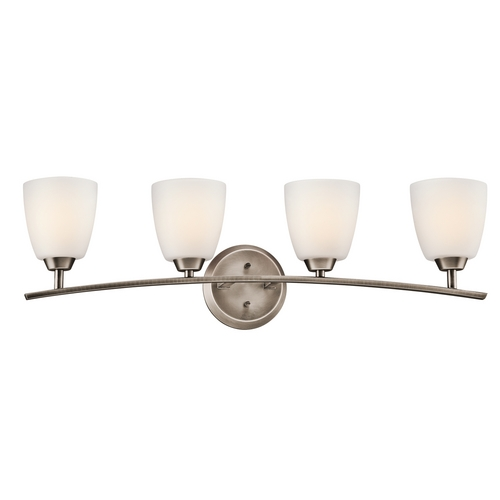 Kichler Lighting Kichler Bathroom Light with White Glass in Brushed Pewter Finish 45361BPT