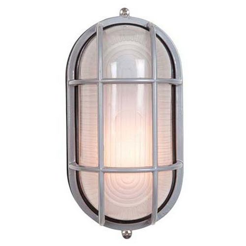 Access Lighting Outdoor Wall Light with White Glass in Satin Nickel Finish 20292-SAT/FST