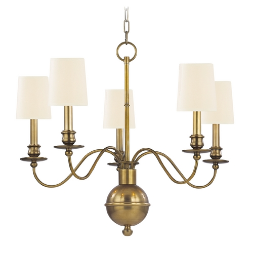 Hudson Valley Lighting Chandelier with Beige / Cream Shades in Aged Brass Finish 8215-AGB-WS
