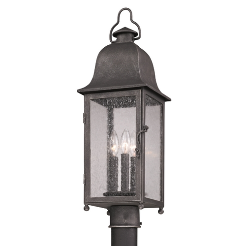 Troy Lighting Post Light with Clear Glass in Aged Pewter Finish PF3215