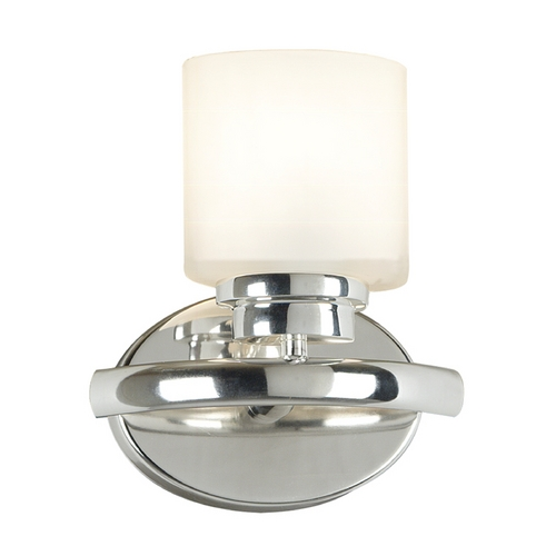 Kenroy Home Lighting Modern Sconce Wall Light with White Glass in Polished Nickel Finish 03390