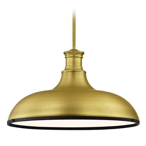 Design Classics Lighting Farmhouse Brass Large Pendant Light with Black Accents 18.38-Inch Wide 1761-12 SH1779-12 R1779-07