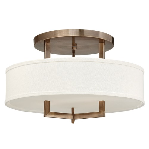 Hinkley Lighting Modern Semi-Flushmount Light with White Shade in Brushed Bronze  3201BR