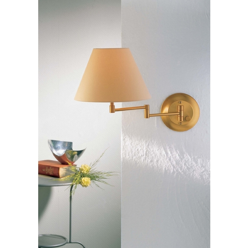 Holtkoetter Lighting Holtkoetter Swing Arm Lamp with Beige / Cream Shade in Brushed Brass Finish 8164 BB KPRG