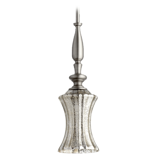 Quorum Lighting Mercury Glass Mini-Pendant Light Satin Nickel Quorum Lighting 884-65