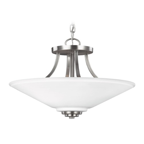 Sea Gull Lighting Sea Gull Lighting Parkfield Brushed Nickel Pendant Light with Coolie Shade 7713002-962