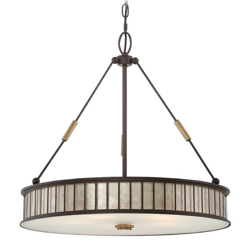 Quoizel Lighting Quoizel Lighting Belfair Western Bronze Pendant Light with Drum Shade MCBF2822WT