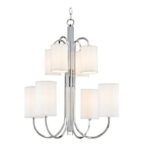 Hudson Valley Lighting Mid-Century Modern Chandelier Polished Nickel Junius by Hudson Valley Lighting 9108-PN
