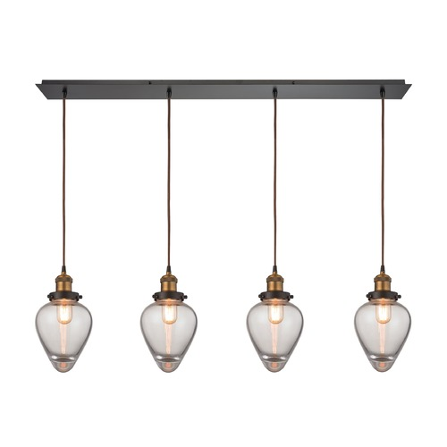 Elk Lighting Elk Lighting Bartram Oil Rubbed Bronze, Antique Brass Multi-Light Pendant with Bowl / Dome Shade 16325/4LP