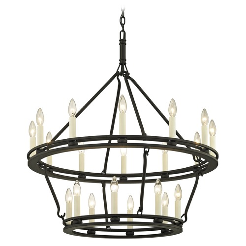 Troy Lighting Troy Lighting Sutton Textured Black with White Chandelier F6238