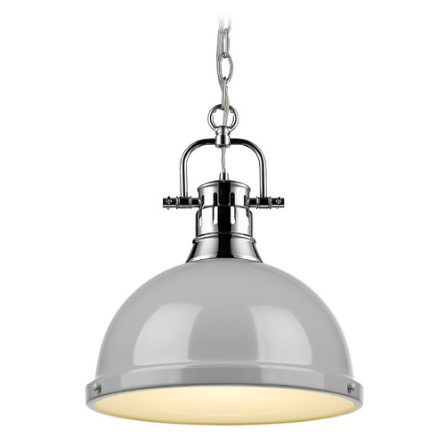 Golden Lighting Golden Lighting Duncan Chrome Pendant Light with Grey Shade 3602-LCH-GY