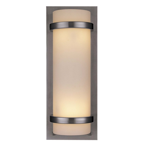 Minka Lavery Modern Sconce Wall Light with White Glass in Brushed Nickel Finish 341-84