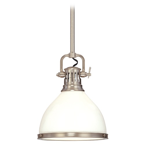 Hudson Valley Lighting Pendant Light with White Glass in Satin Nickel Finish 2623-SN