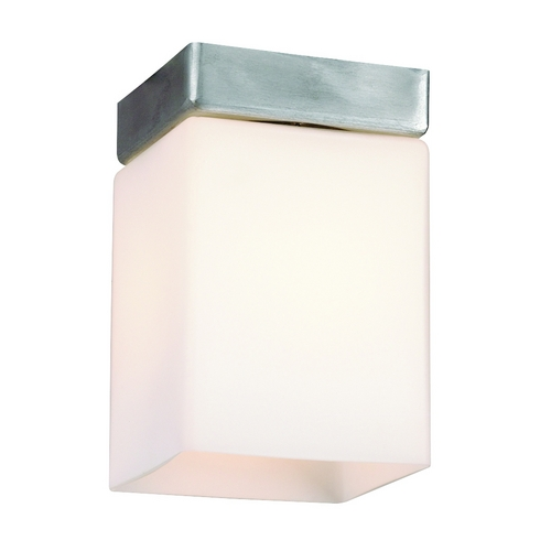Philips Lighting Modern Flushmount Light with White Glass in Satin Aluminum Finish F608159