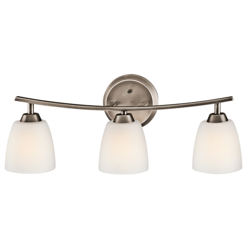 Kichler Lighting Kichler Bathroom Light with White Glass in Brushed Pewter Finish 45360BPT