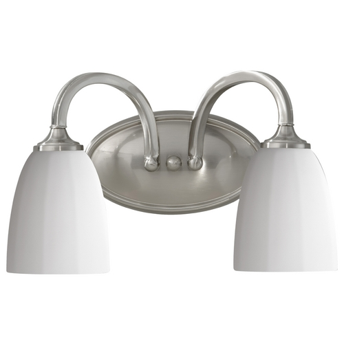 Home Solutions by Feiss Lighting Modern Bathroom Light with White Glass in Brushed Steel Finish VS17402-BS