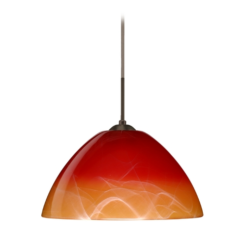 Besa Lighting Modern Pendant Light with Orange Glass in Bronze Finish 1JT-4201SL-BR