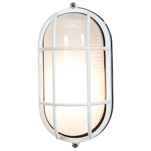 Access Lighting Outdoor Wall Light with White Glass in White Finish 20292-WH/FST
