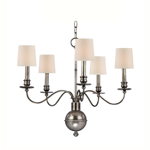 Hudson Valley Lighting Chandelier with White Paper Shades in Aged Silver Finish 8215-AS