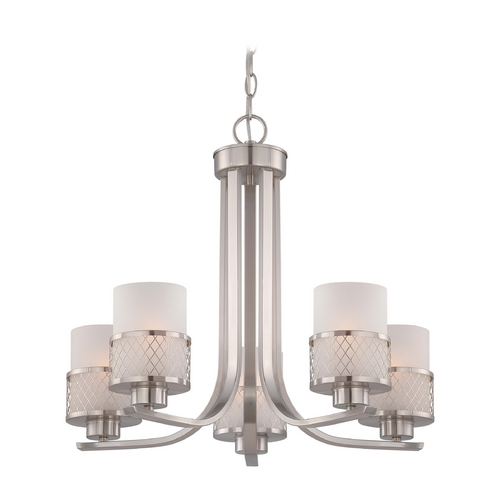 Nuvo Lighting Modern Chandelier with White Shades in Brushed Nickel Finish 60/4685