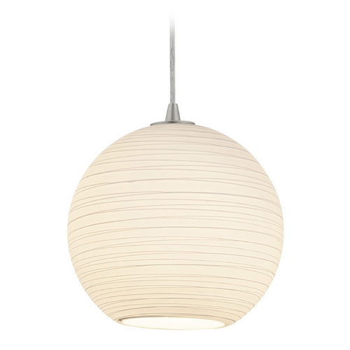Access Lighting Access Lighting Tali Brushed Steel Pendant with Bowl / Dome Shade 28088-2C-BS/WHTLN