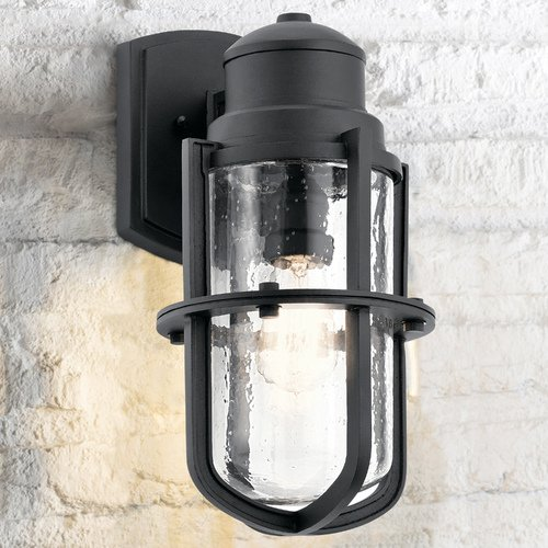 Kichler Lighting Seeded Glass Outdoor Wall Light Black Kichler Lighting 49858BKT
