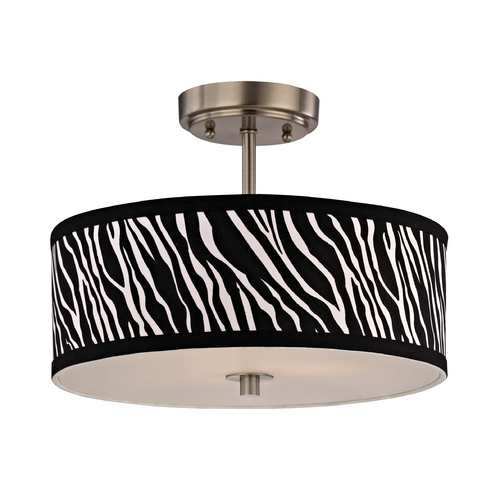 Design Classics Lighting Zebra Print Ceiling Light with Drum Shade - 14-Inches Wide DCL 6543-09 SH9466