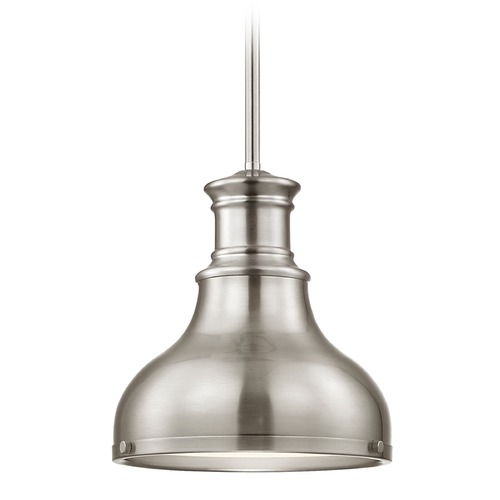Design Classics Lighting Farmhouse Pendant Light Satin Nickel 8.63-Inch Wide 1761-09 SH1778-09 R1778-09