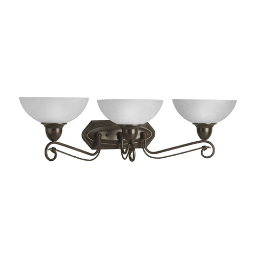 Progress Lighting Progress Bathroom Light with White Glass in Antique Bronze Finish P3294-20