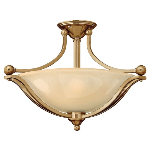 Hinkley Lighting Light Amber Seeded Glass Semi-Flushmount Light Bronze Hinkley Lighting 4669BR