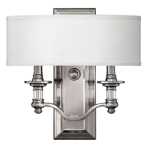 Hinkley Lighting Sconce Wall Light with Beige / Cream Shade in Brushed Nickel Finish 4900BN