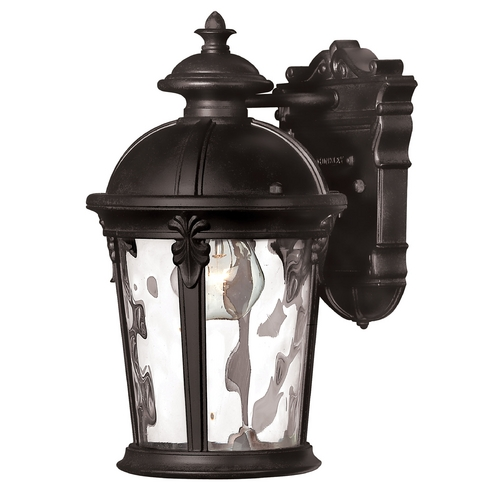 Hinkley Lighting Seeded Glass LED Outdoor Wall Light Black Hinkley Lighting 1890BK-LED