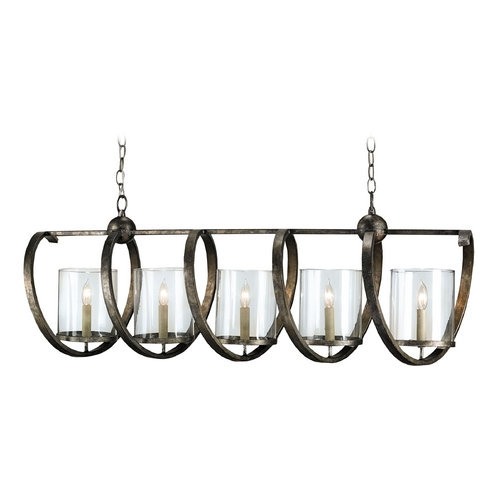 Currey and Company Lighting Currey and Company Lighting Dirty Silver Island Light with Cylindrical Shade 9915