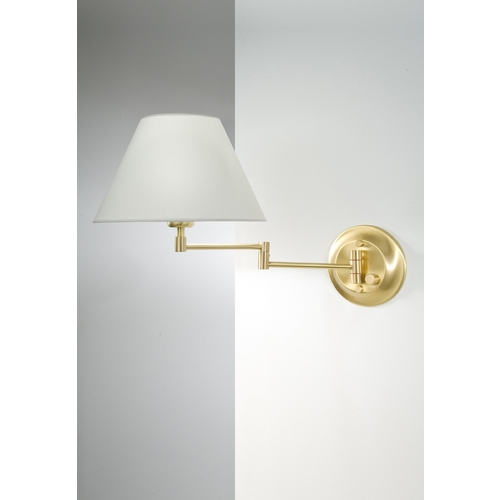 Holtkoetter Lighting Holtkoetter Swing Arm Lamp with White Shade in Brushed Brass Finish 8164 BB SWRG