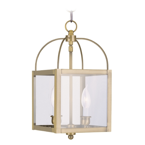 Livex Lighting Livex Lighting Milford Antique Brass Mini-Pendant Light with Square Shade 4041-01