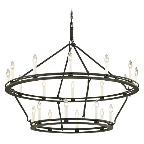 Troy Lighting Troy Lighting Sutton Textured Black with White Chandelier F6239